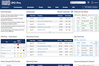 IPO Pro dashboard picture for video tutorial