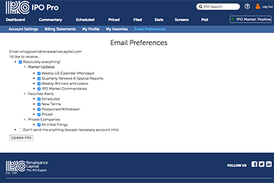 IPO Pro email preferences.