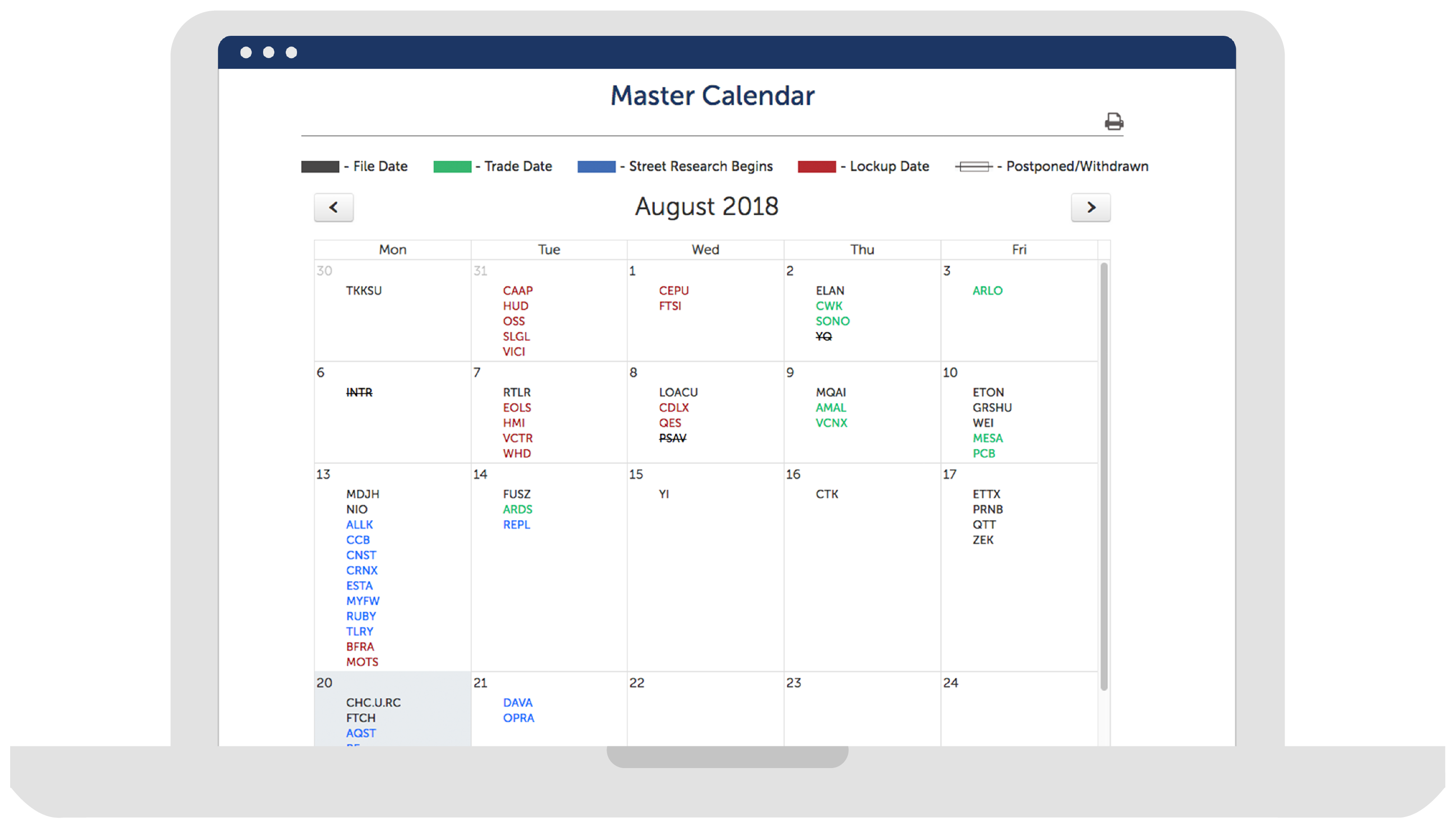 IPO Pro master calendar page.